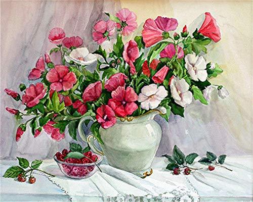 HU0QWPKU mooie vaas met bloemen, olieverfschilderij, digitaal, romantische set, mooi knutselen, olieverfschilderij, foto, familie, wanddecoratie, kunst, cadeau voor kinderen 40cmx50cm