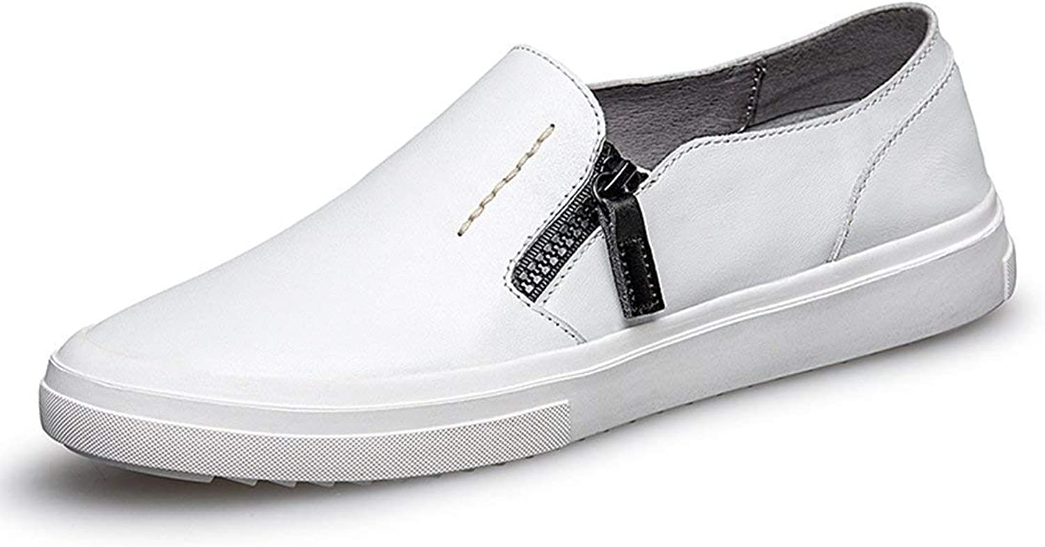 ZHRUI Boy's Men's Zip Solid Soft Sole White Spring Summer Loafers UK 8 (color   -, Size   -)