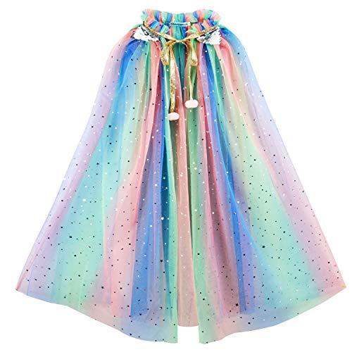 Tacobear Kinder Umhang Prinzessin Bunt Cape Prinzessin Halloween Kostüm Umhang Prinzessin Party Kostüm für Mädchen