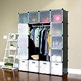 UNICOO - Multi Use DIY Plastic 20 Cube Organizer, Bookcase, Storage Cabinet, Wardrobe Closet Black with White Door (Deeper Cube)