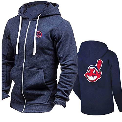 GMRZ Männer Pullover, Hoodie Mit Cleveland Indians Design Logo MLB Major League Baseball Team Uniform Langarm Sportbekleidung Kapuzenpullover,B,XXL