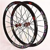 NS Ruedas Bicicleta 700C Juego Ruedas Bici Carretera 40Mm Reflexivo Tiro Recto Rompevientos Pared Doble Llanta Aleación Freno C/V 8-9-10-11 Velocidad (Color : Colorful Label, Size : Red Hub)