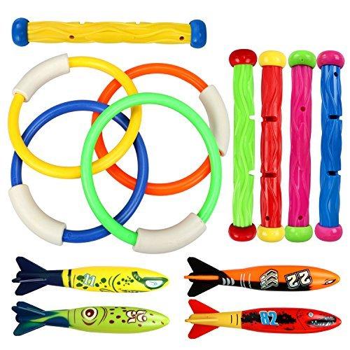 Tacobear 13pcs Juguete de Buceo 4pcs Anillos de Buceo 4pcs Torpedos Bandidos 5pcs Palos de Buceo Juguetes para Piscina Natación Subacuática Verano Juegos para niño (Estilo clásico)