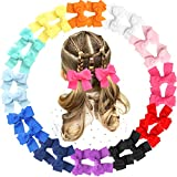JOYOYO 24PCS 3.5' Pinwheel Hair Bows Grosgrain Ribbons Bows With Alligator Hair Clips Hair Accessories for Baby Girls Toddlers Kids In Pairs