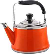 Household Cordless Stainless Steel Lightweight Whistle Kettle, Traditional/Retro Outlet with hob or stovetop (1L,Orange)