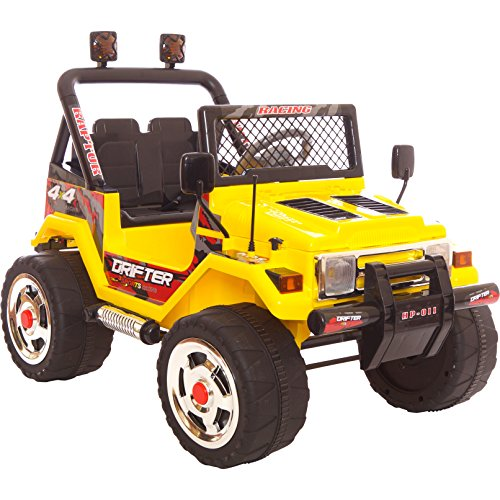 Rebo 12v Wrangler Ride On Electric Jeep Battery Remote Car / 2 Seater / MP3 / Remote Control / 3 Colours (Yellow) by