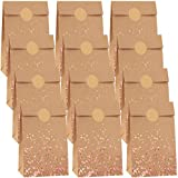 Cooraby 30 Pieces Mini Size Dot Bronzing Rose Gold Kraft Paper Bags 3.5 x 2.4 x 7.1 Inch with 48 Stickers for Party Celebrations, Birthday, Wedding