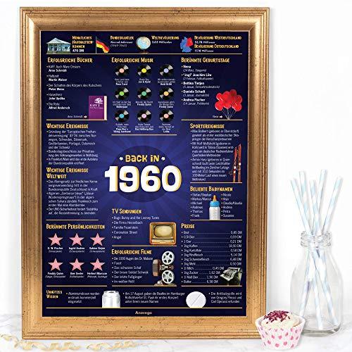 Das Original Damals 1960 Poster Deutschland (40x59.4cm Ungerahmt) Elegante Posterröhre 60. Geburtstag Geschenk 60-Jähriges Jubiläum Deko für Frau Mann Oma Opa Mama Papa (Damals 1960 – 60 Jahre)