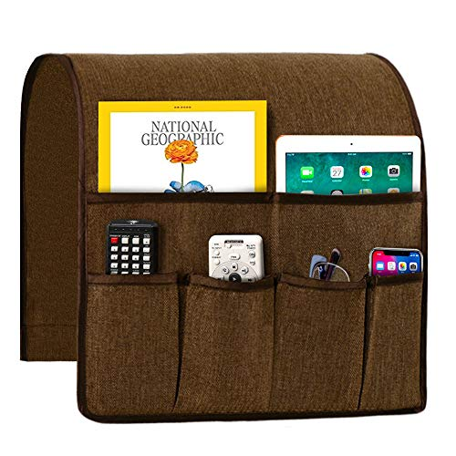 Sofa Armrest Organizer, Non-Slip Couch Caddy Armchair Arm Chair Caddy with 6 Pockets Armchair Caddy forSmart Phone, Book, Magazines, Ipad, TV Remote Control Holder (Brown ,19'' x 35'')