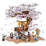 kalimba-Xpt Árbol de Sakura Romántico Casa del Árbol Bloque de Construcción, Moc Flor de Cerezo Paisajes con Placa Base y Luces Set de Construcción, Nano-Mini Building Blocks DIY Toys, 1167 Piezas