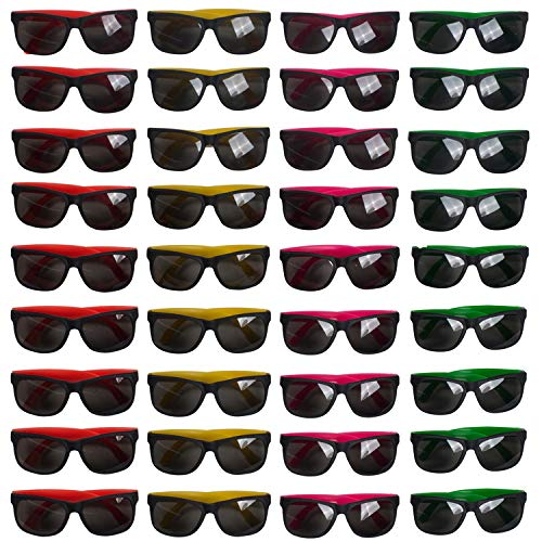 Neon Wayfarer Stle Sunglasses Party Pack of 36