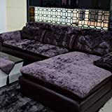 E-Solem Modern Velvet Sectional Sofa Cover, L Shape Couch Cover, Couch Slipcover for Pets, Sofa Slipcover Protector, Recliner Slipcover, Futon Cover, 36' x 94' Violet (90x240cm) (Qty:1 Piece)