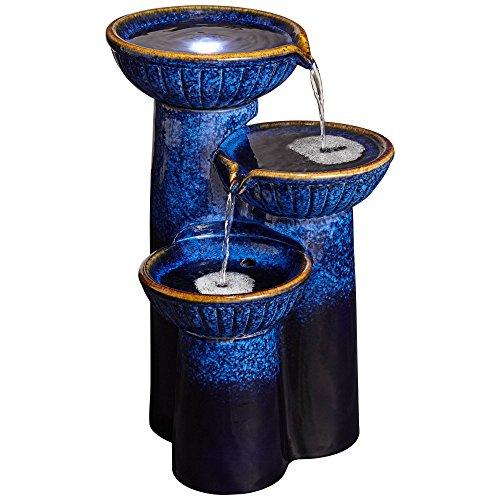 John Timberland 3 Bowl Modern Outdoor Floor Water Fountain with Light LED 26 3/4' High Cascading Column for Yard Garden Patio Deck