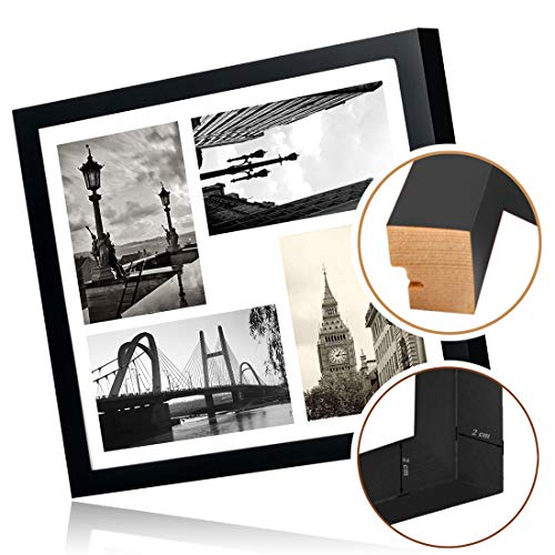 BOJINフォトフレームL判*4木製壁がけタイプフック付き軽量多面ギフトブラック