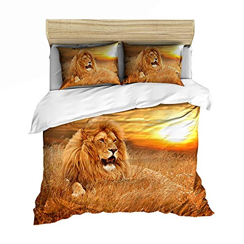 Children's Bedding Set, Cartoon Lion dekbedovertrek voor Teen Boys, Single King Size tweepersoonsbed, comfortabele zachte microvezel dekbedovertrek,03,GB Single140cm×210cm