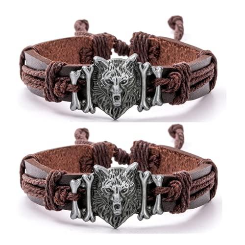 Paquete de 2 pulseras de lobo vikingo de cuero con cabeza de lobo pulsera con estilo espiritual, joyería de animales lobos amantes regalos para hombres mujeres y niños, ajustable