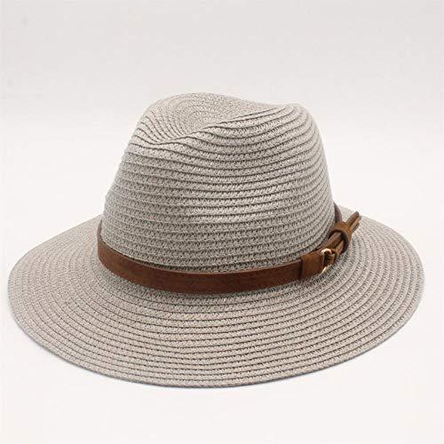 YDXC Sombrero de paja de verano para mujer, visera ancha de ala ancha, sombrero de playa, para camping, senderismo, actividades etc, gris, 6 7/8-7 1/8