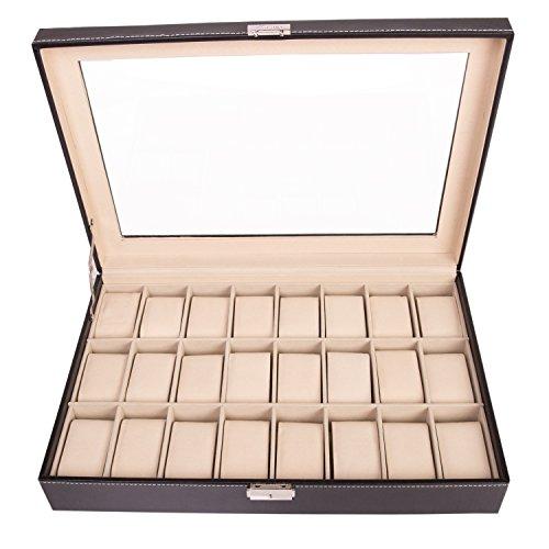 TRESKO® Uhrenbox für 24 Uhren, Uhrenkasten mit Glasdeckel, Uhrenkoffer mit herausnehmbaren Uhrenkissen, Samt-Innenfutter, Metallverschluss, aus PU, schwarz