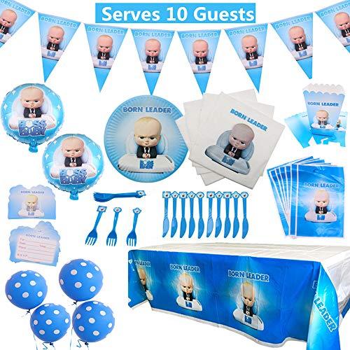 Baby Boss Party Supplies Set 92 Pack Kit de vajilla de fiesta de cumpleaños con decoraciones de globos Suministros de fiesta de celebración completa para 10 niños Niños