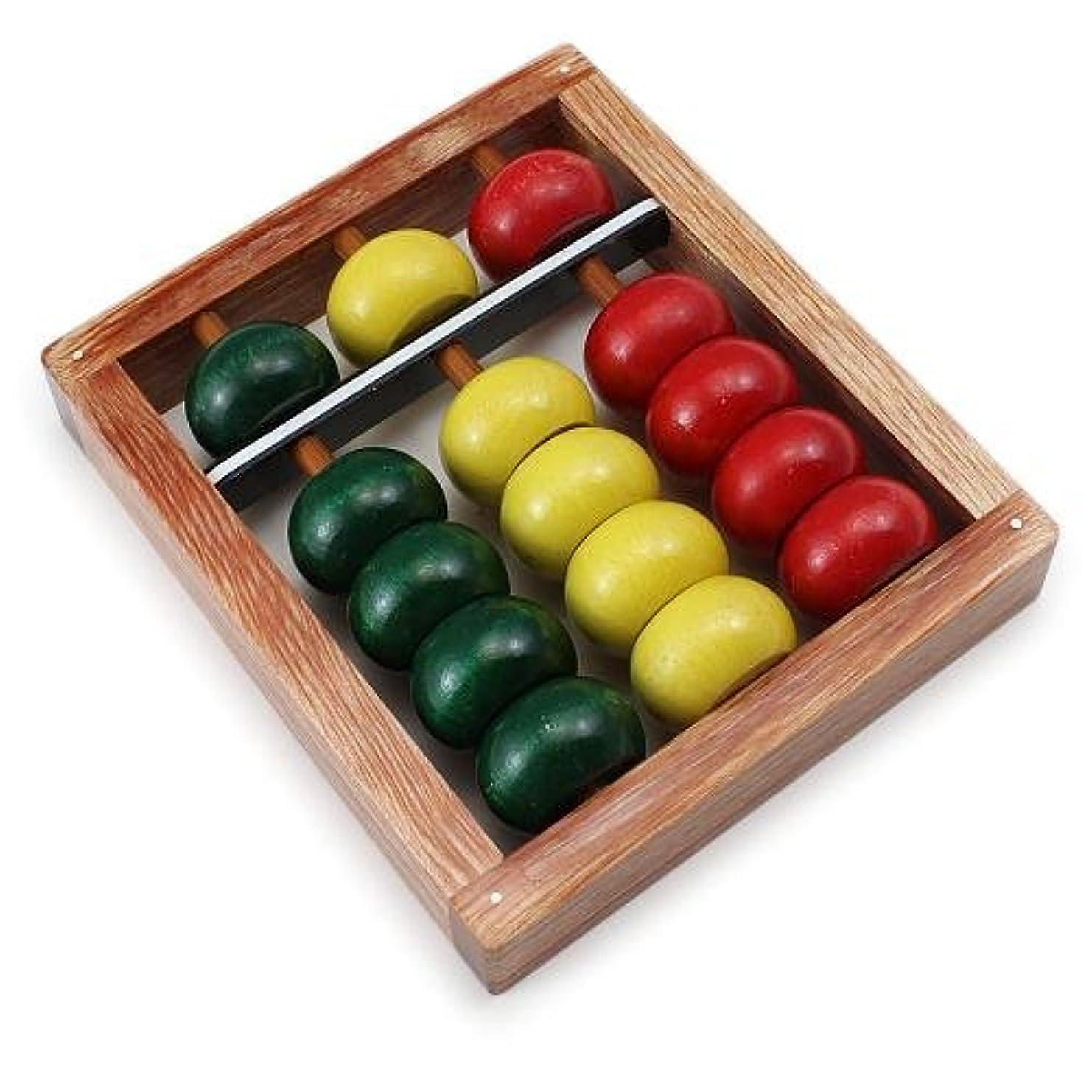 まぶしさ接触分岐する3桁 パッチーそろばん 木製カラー玉 PO100