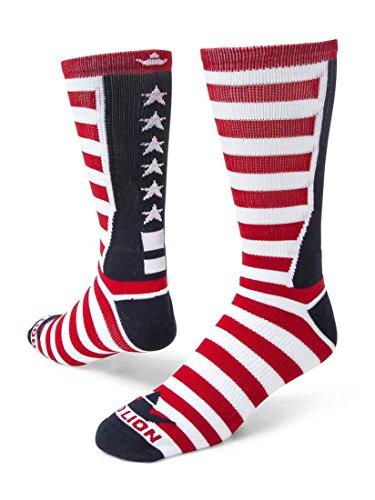 Red Lion Team USA Patriotic American Made Crew Socks (Navy Blue/White/Red - Medium)
