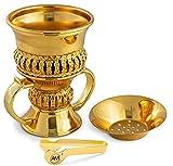 AM Regal Metal Incense Burner - Bakhoor Burner Mubkhara – Frankincense Insence Burner - Ideal for Yoga, Spa & Aromatherapy (Gold)
