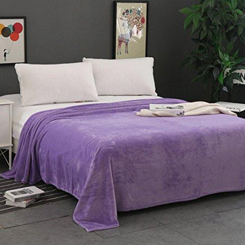 Iusun Super Soft Flannel Blanket Warm Solid Warm Micro Plush Fleece Blanket Throw Rug Sofa Bedding (27.6x39.4, Purple)