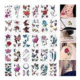 SCH 30 Hoja de Perro de la Historieta 3D Tatuajes del Cuerpo de la Mariposa Temporal Arte engomada de la Flor del Tatuaje falsifican Letras Infinity Tatuaje for Las Mujeres, niños