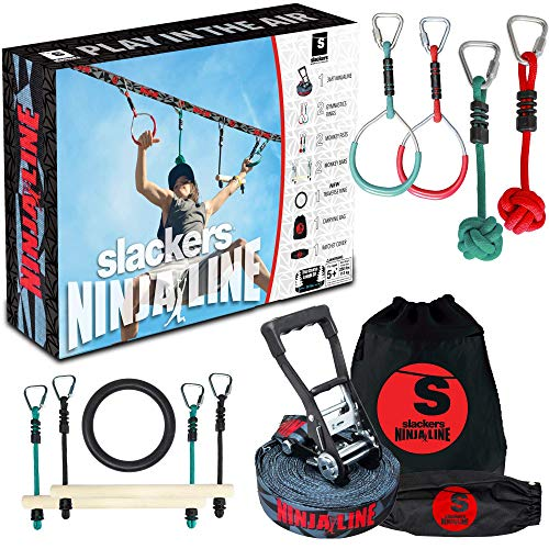 Slackers Ninjaline - 36' Intro Kit - Includes 7 Hanging Attachments - Best Outdoor Ninja Warrior Training Equipment For Kids - Build Your Very Own Backyard Obstacle Course - Rated Ages 5+
