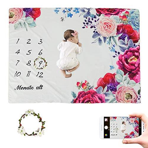 JMITHA Baby Monats Decke, Neugeborene oenbopo Baby Monatliche als Foto Hintergrund mit Meilenstein-Druckmuster (Blume A) 100x150cm
