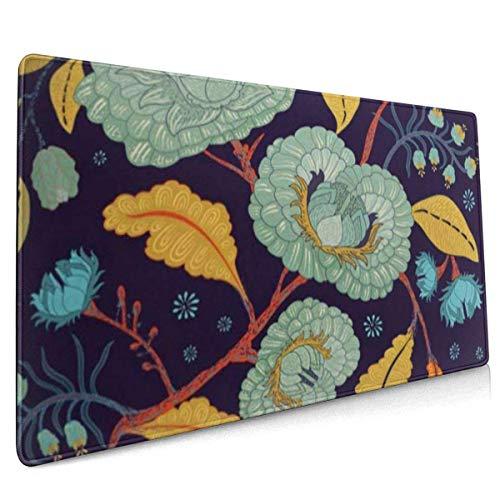 Mauspad, Extended Gaming Mousepad , Verlängerte rutschfeste Mauspads Geeignet für Gamer, Büros, Arbeitszimmer usw. Blaue antike Blumen und Pflanzen Blumen Artdeco Artnouveau Autumn