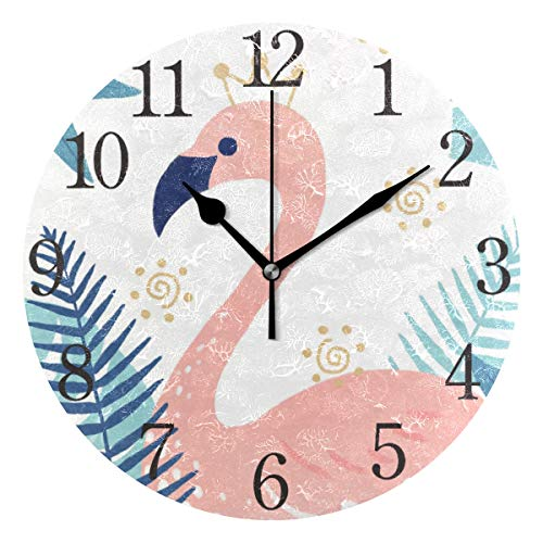 senya Wall Clock Silent 9.5 Inch Battery Operated Non Ticking Flamingo Tropical Round Decorative Acrylic Quiet Clocks for Bedroom Office School Home by domook
