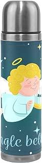 BEUSS Campanas De Jingle CupidBotella de Agua Dosis de Vacuna Frasco de Vacío con Aislamiento de Acero Inoxidable Termo de Embalaje de Cuero a Prueba de Fugas(500Ml)