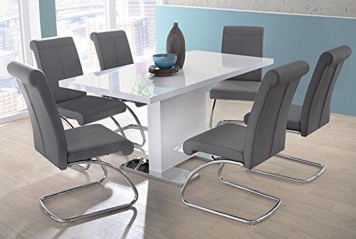 lifestyle4living Esstisch in Weiß Hochglanz | Esszimmertisch ist ausziehbar auf 120-160 cm breit und 80 cm tief, Küchen-Tisch hat Bodenplatte aus Edelstahl