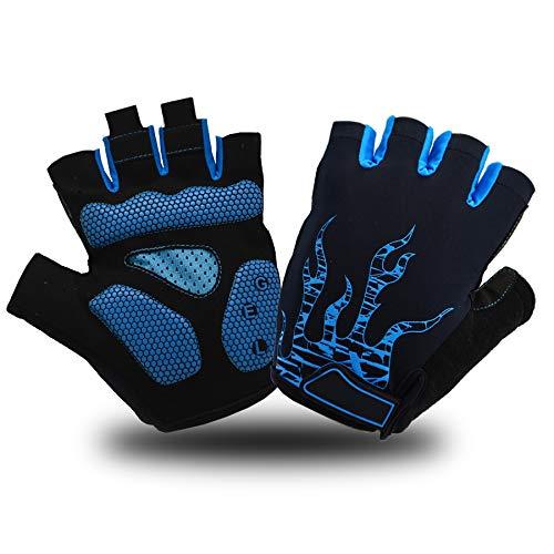 ACTINPUT Herren Fahrradhandschuhe, Halbfinger-Handschuhe, MTB, DH, Rennrad, Gel-Pad, stoßdämpfend, rutschfest, atmungsaktiv, für Motorrad, Mountainbike, Unisex, Damen (02 Blau, Größe S)