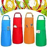 XCOZU 4 Grembiuli per Bambini con Tasche, Grembiuli Regolabili per la Cucina dei Bambini, Grembiuli per la Pittura dei Bambini, Grembiule da Cuoco per la Scuola d'arte (rosso/verde/arancione/blu)