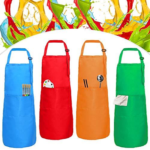 XCOZU 4 Stück Kinderschürze Mädchen Jungen Set, Verstellbare Malschürze Kinder mit Tasche, Kochschürze Schürze Kinder Malkittel Kinder zum Basteln Kochen Backen Malerei(Grün Orange Rot Blau)
