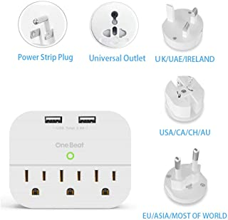 World Travel Adapter Kit- Cruise power strip with All in one universal multi plug adapter. 2 USB ports 3 wall outlet extender surge protector USA, AU, China, Japan, Asia, UK, European adapter etc
