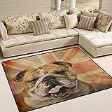 Alfombra de suelo grande de 182,88 x 122,92 cm, diseño vintage de Bulldog Inglés Union Jack, alfombra antideslizante para sala de estar y dormitorio