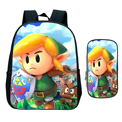 Sonic Cartoon Pack The Legend of Zelda 2 Pcs/Set Backpack Pencil Case Link's Awakening Student School Bags for Girls Boys Daily Kids Book Bag