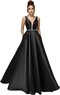 Fashionbride Women's Deep V-Neck A-Line Satin Long Prom Dresses Beaded Formal Evening Gown with Pockets