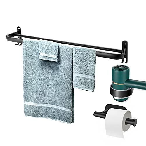 penobon Set di accessori da bagno Space in alluminio con gancio, porta carta igienica, porta asciugacapelli, cassetta per saponetta, Tessuto,