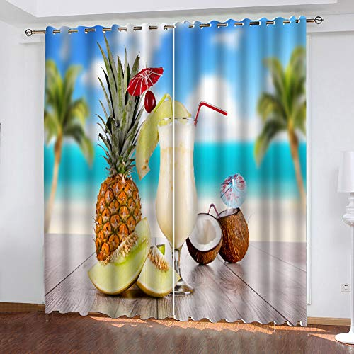 MMHJS 3D Digital Beach Series Printed Curtains Garden Balcony Bedroom Blackout Curtain Polyester Waterproof Perforated (2Pcs)
