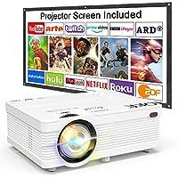 Proyector QKK 4500 Lumen Soporta 1080P Full HD, Proyector Mini con Pantalla de Proyección, Proyector Video Compatible con los TV Stick PS4 PC HDMI VGA SD AV y USB, Proyector Teatro en Casa, Blanco.