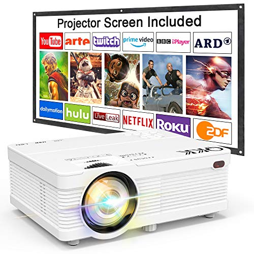 Proyector QKK 4500 Lumen Soporta 1080P Full HD, Proyector Mini con Pantalla de Proyección, Proyector Video Compatible con los TV Stick PS4 PC HDMI VGA SD AV y USB, Proyector Teatro en Casa, Blanco.