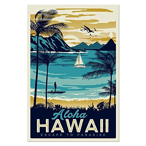 Aya611 Stadtbild Poster Vintage Wandkunst Montauk Hawaii Vintage Poster Stadtwand Bilder für Wohnzimmer Landschaft Leinwand Malerei50cmx70cm Kein Rahmen
