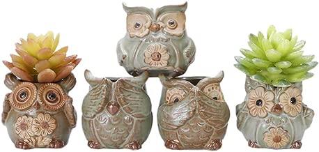 5pcs/lot Creative Ceramic Owl Shape Flower Pots for Fleshy Succulent Plant Animal Style Planter Home Garden Office Decoration (5PCS Type B)