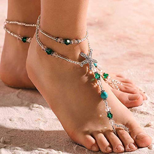 Aetorgc Boho Anklets Turquoise Bridal Foot Anklet Beads Barefoot Beach Sandals Starfish Ankle Foot Jewelry for Women and Girls