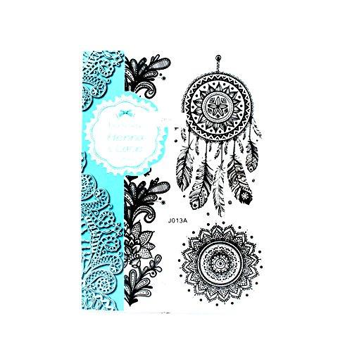 Henna & Lace Tattoos mit großem Traumfänger und Blumen-Band großer Blume in Doodle-Optik (schwarz)
