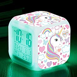 Unicorn Digital Alarm Clocks for Girls, LED Night Glowing Cube LCD Clock with Light Children Wake Up Bedside Clock Birthday Gifts for Kids Women Bedroom (Lady Unicorn)